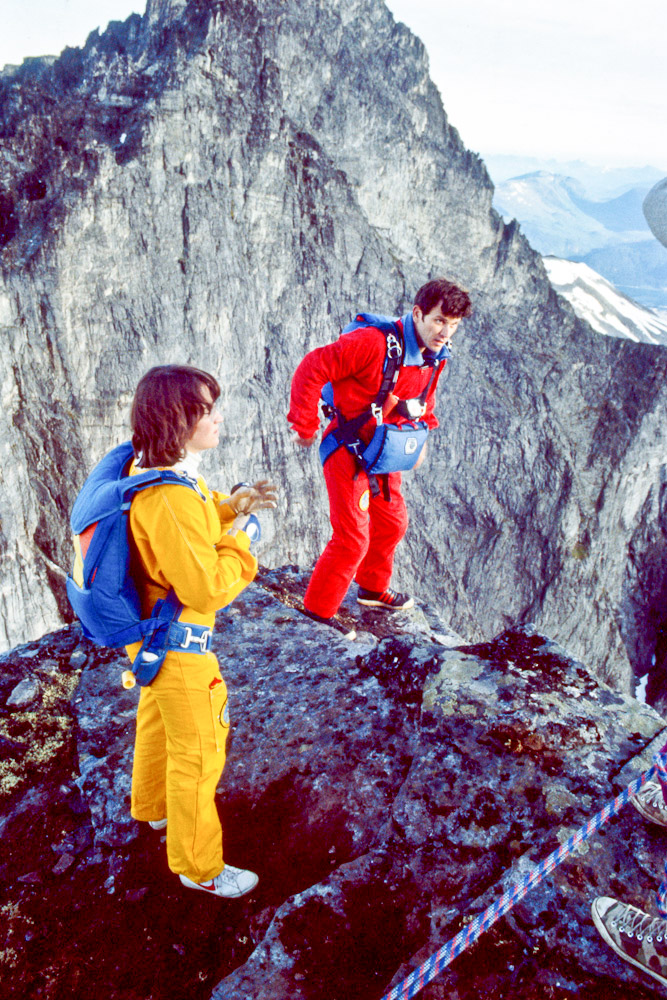 """Carl and Jean jump the Trollveggen in Norway 1984. """"Jean had a natural affinity for the air."""" Carl Boenish"""