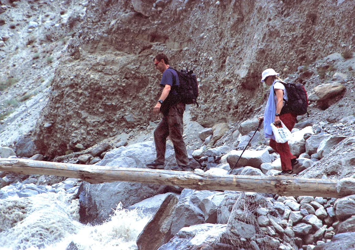 Glenn and I crossing the Indus River on our way to the Great Trango Tower in Pakistan.