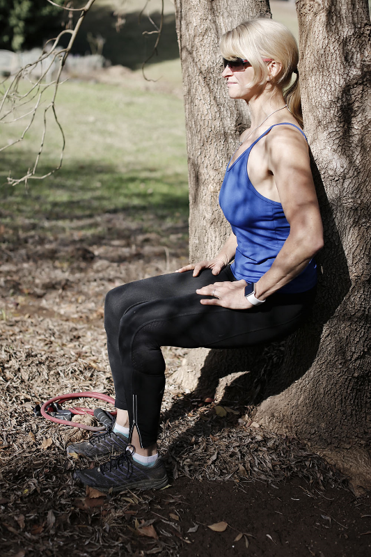 You can do wall-sits anywhere - sit with your back straight as long as you can to strengthen legs and core.