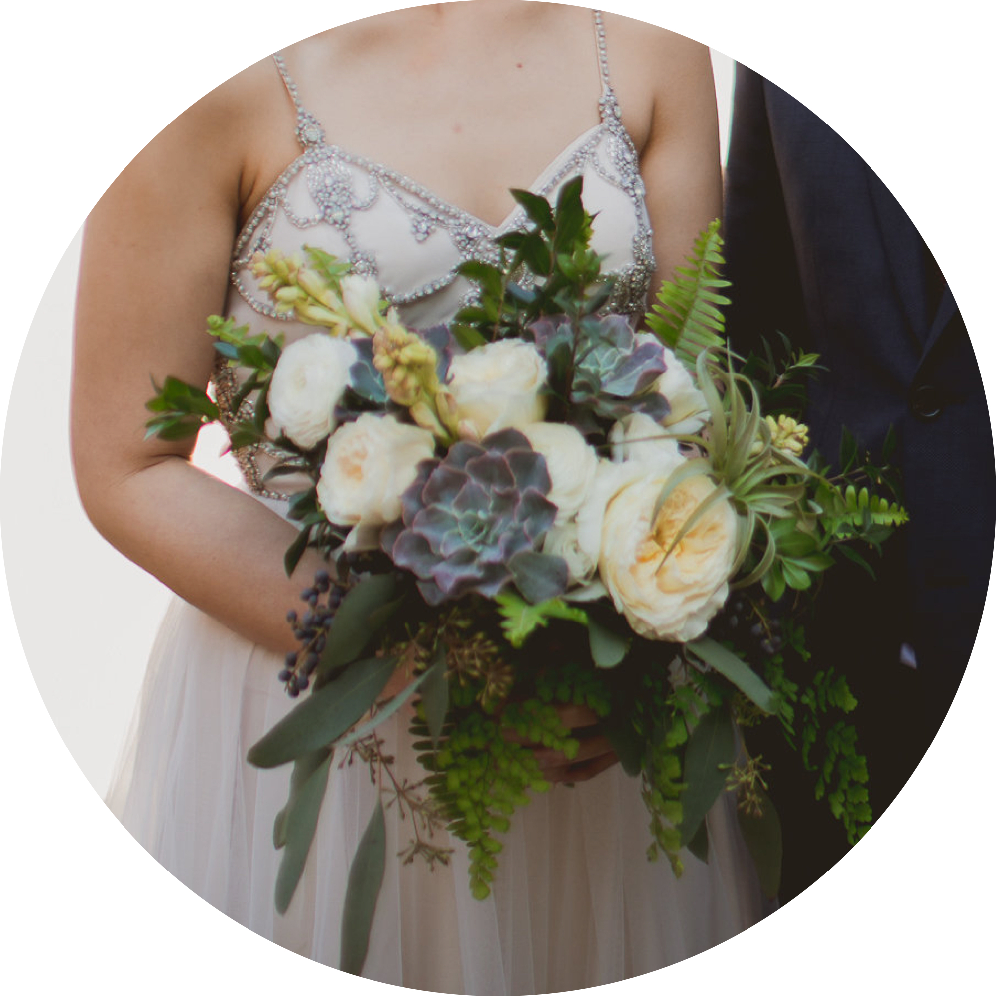 """""""Sophie is truly an artist!"""" - Sophie was great to work with! I met with her in person for a consultation and I immediately knew that she was the person for the job. I was up front about our budget for florals and she was able to work with it. I did not know much about florals and only had a general idea of the kind of vibe I was looking for. Sophie was able to take my vague vision for florals and turn it into a rustic masterpiece. She was even flexible enough to help put together a last minute escort board garland, which turned out to be a hit! Sophie was super quick to reply to any questions and changes that I requested. She was also very organized. Sophie is truly an artist!— Julie + Isaac"""