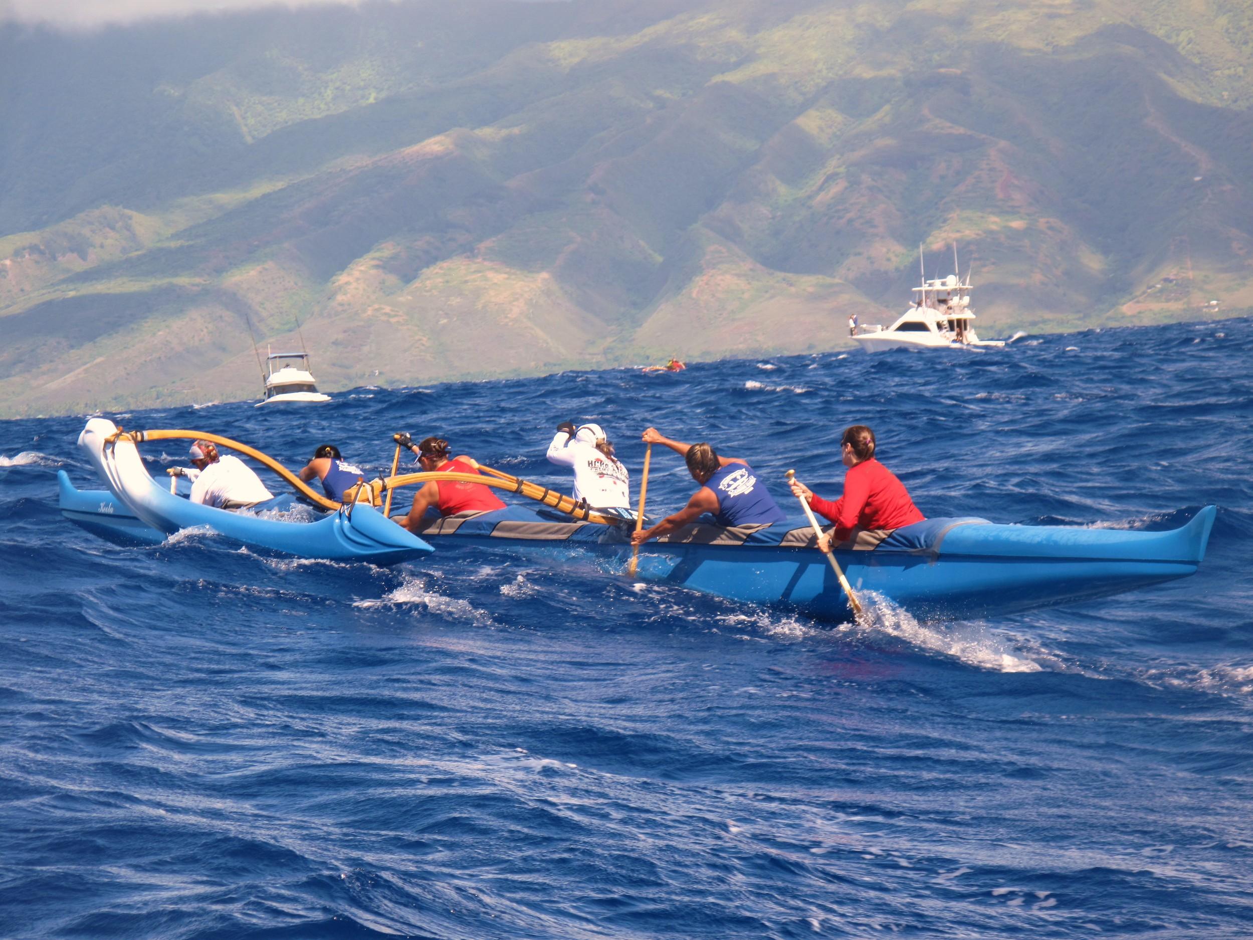 Canoe racing off the coast of Maui Hawaii