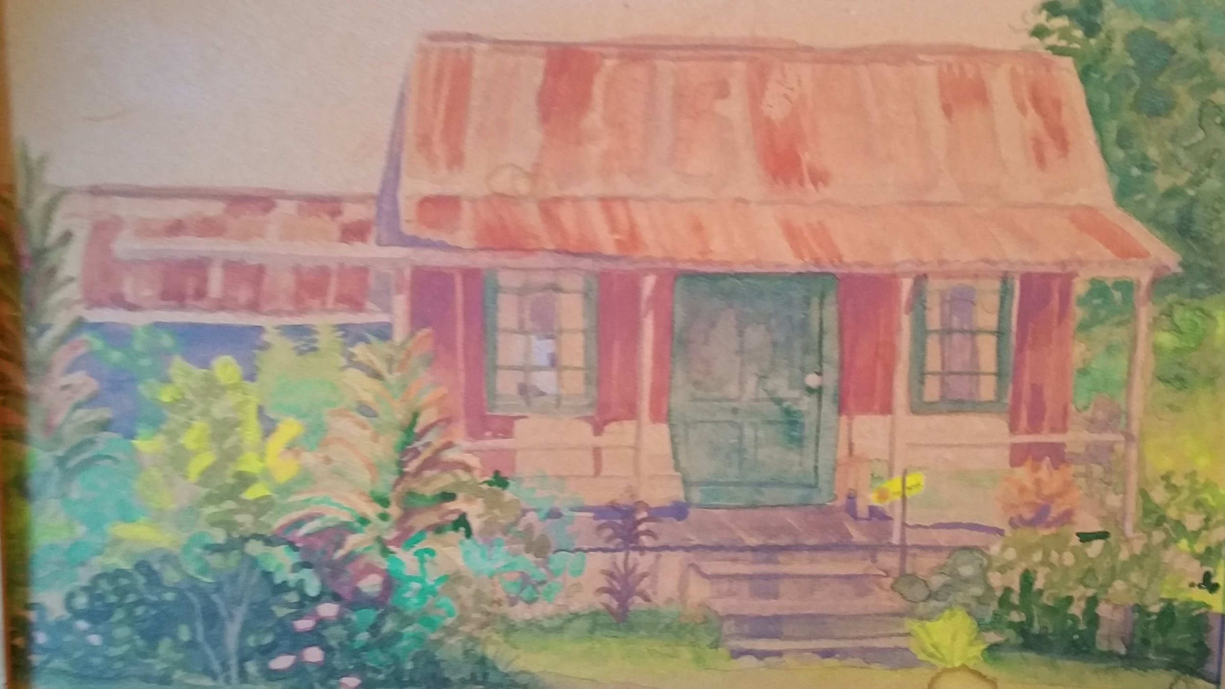Old painting of plantation house on Big Island