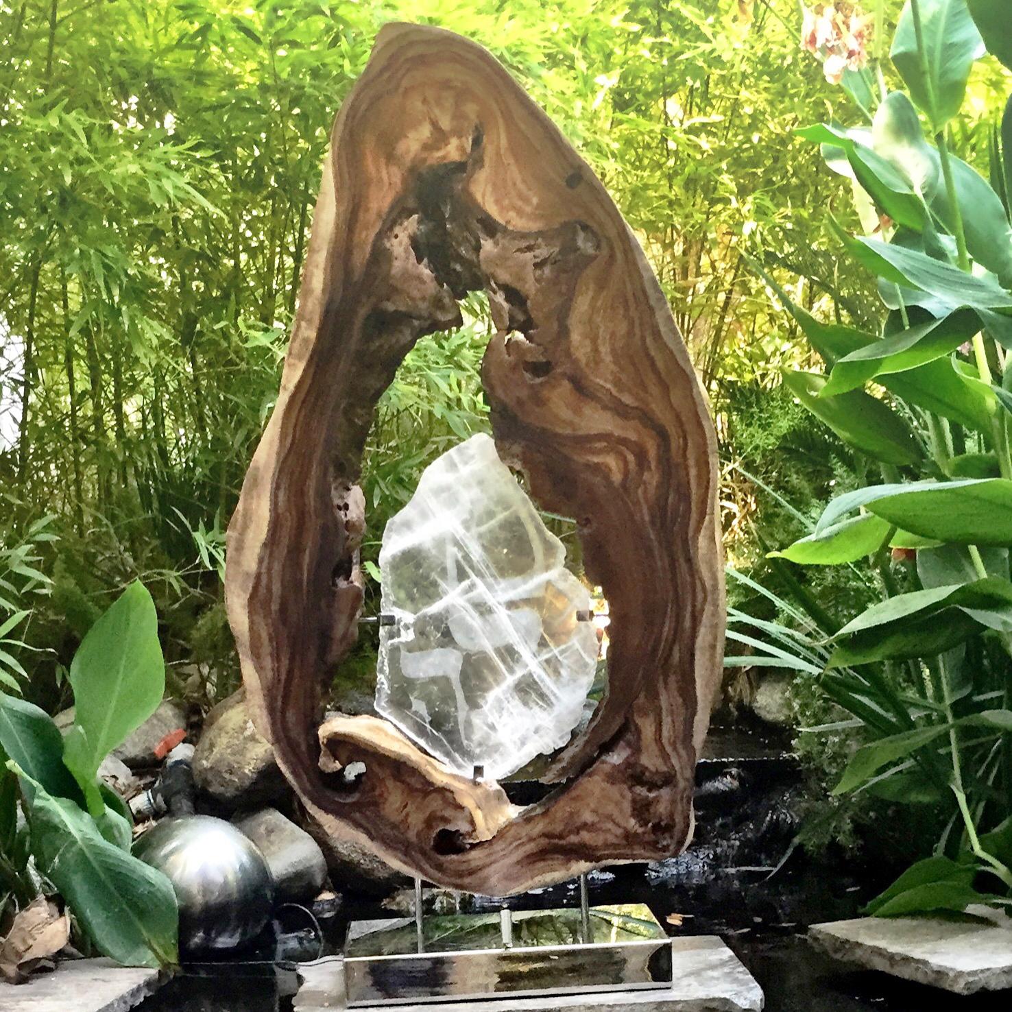 Sharing The Flame_Hand-carved Selenite_Acacia Wood_Light_Steel - 57x31x12 in - $1440.jpg