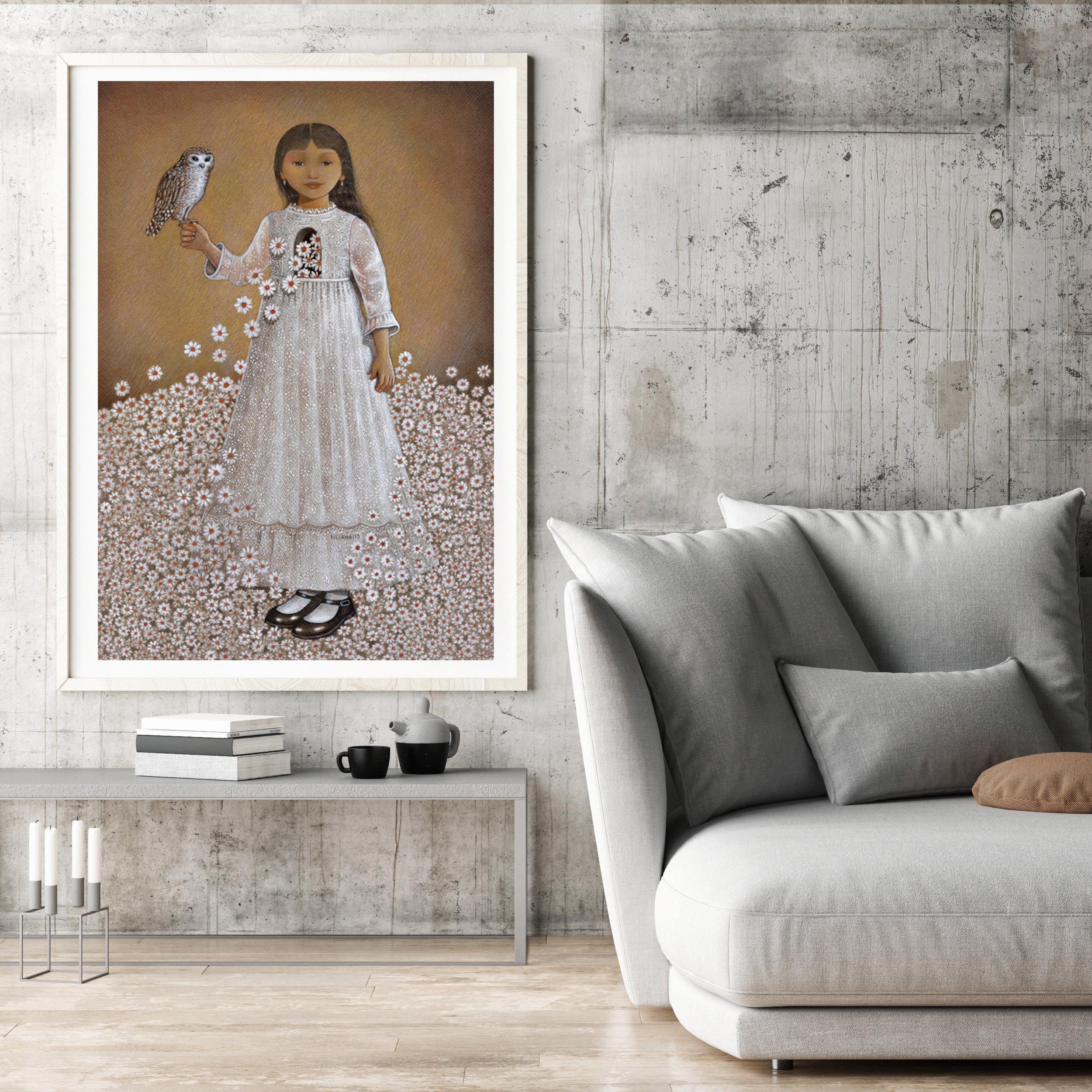 Framed poster in hipster living room, 3d illustration