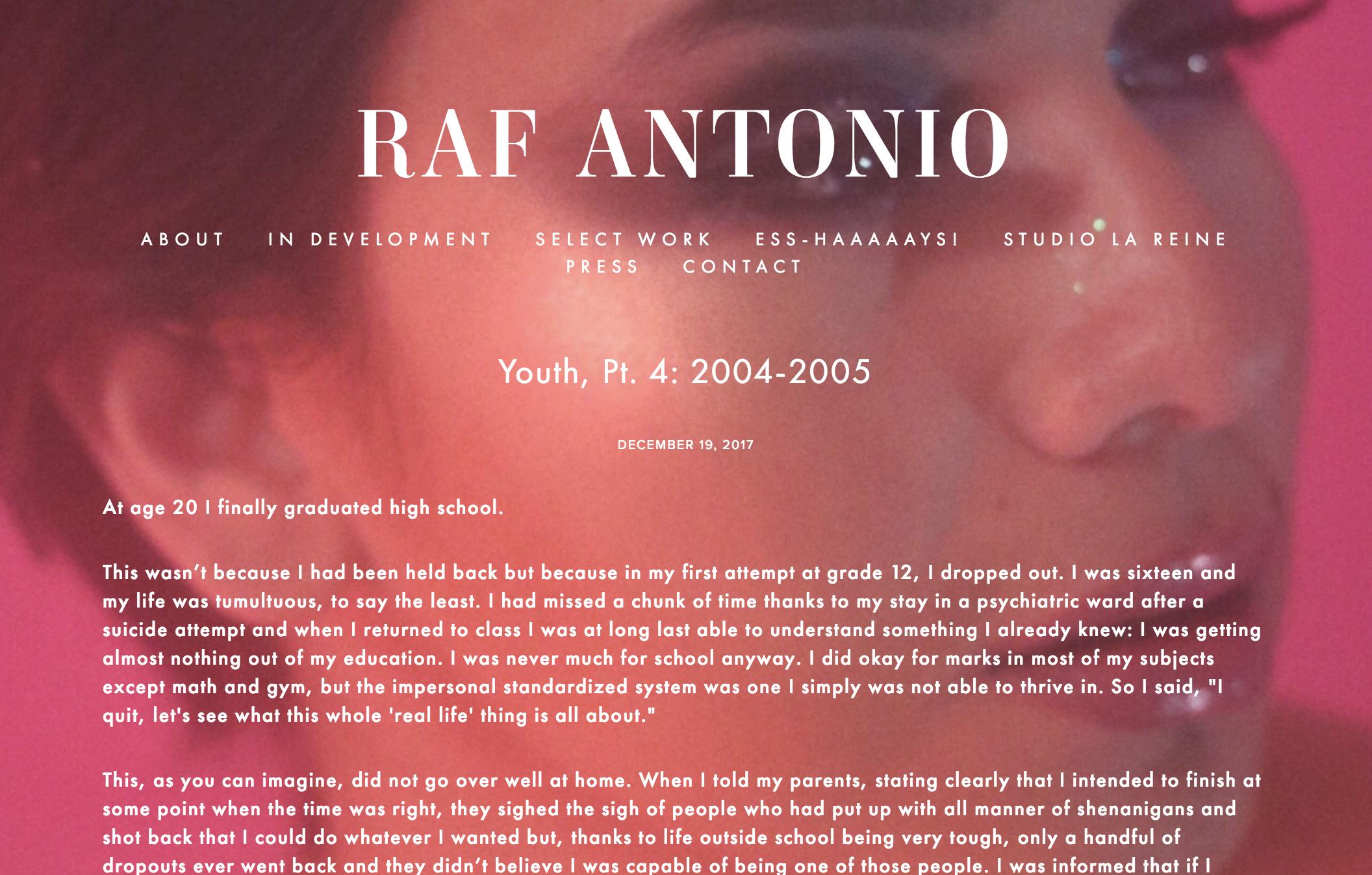 Raf Antonio (Dec 2017), webpage detail.