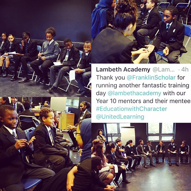 Another fantastic day in schools! Our twelve facilitators have been so busy getting schools up and running across England, and it's so lovely to get such nice feedback from one of our schools! Great working with Lambeth Academy this year! #FranklinScholars #WeAreFS #PeerMentoring #Leaders