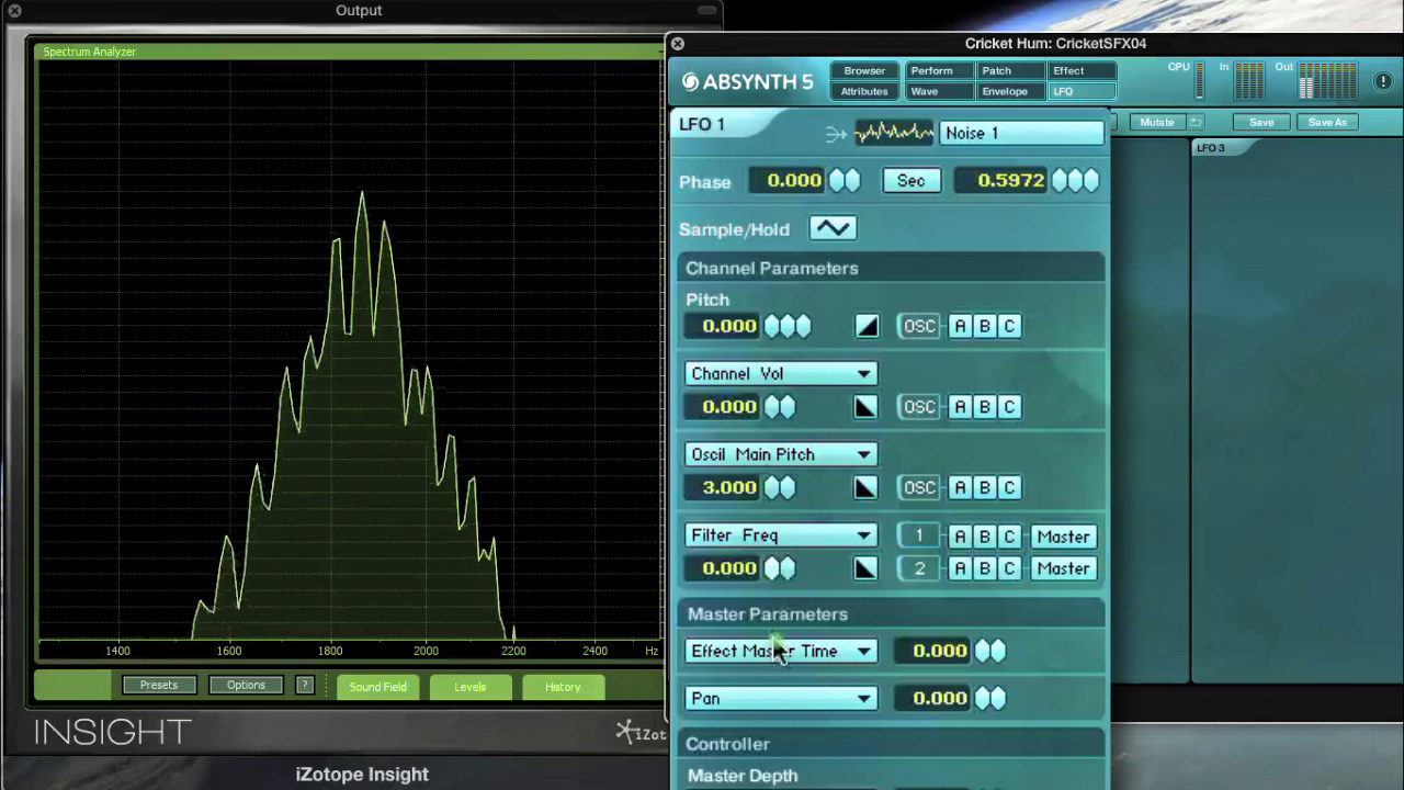 Fig.15 - Modulating the Bandpass Filter Freq (cutoff) in Absynth, with a Noise 1 LFO creates a cloudy, organic sound.