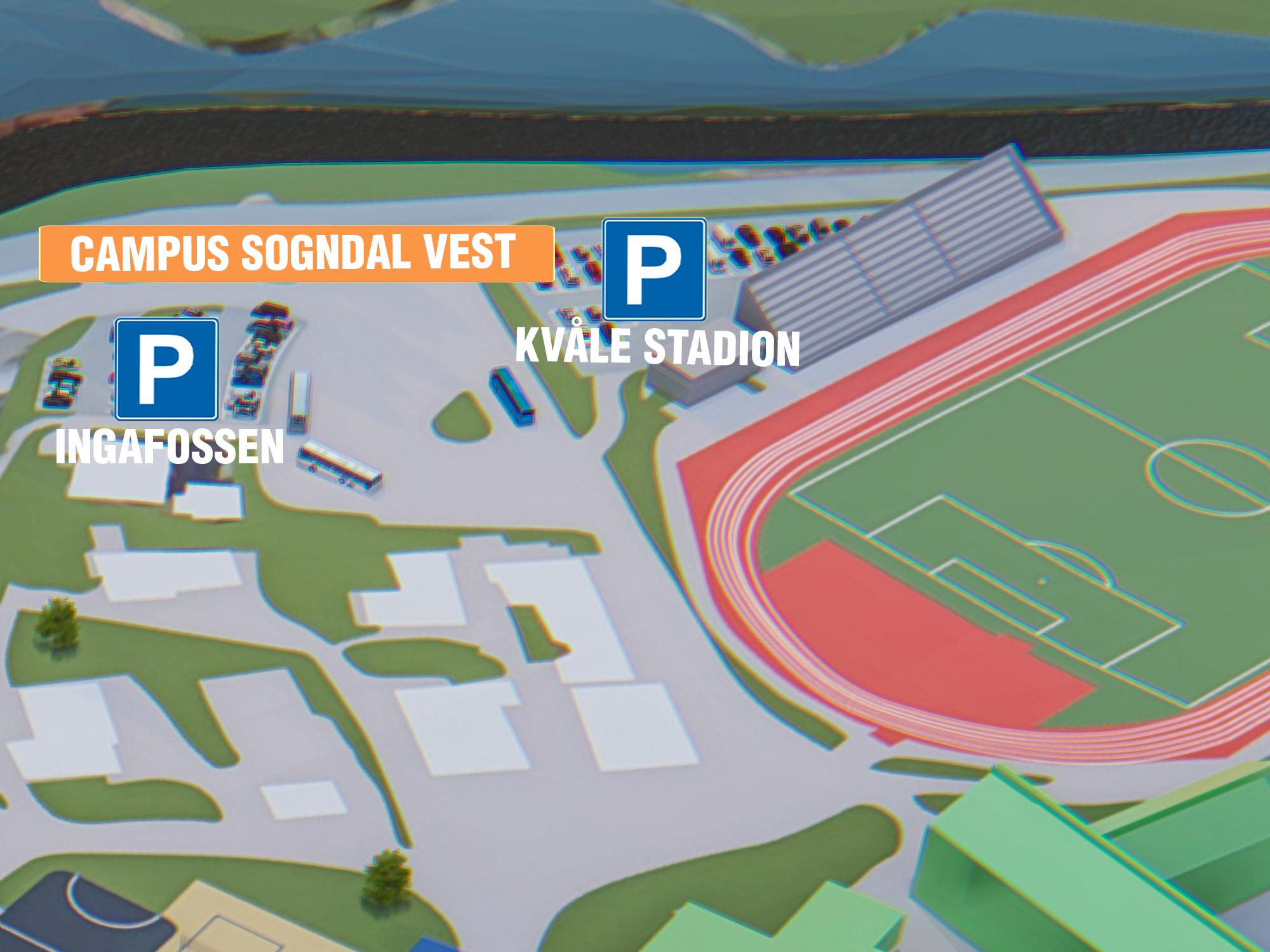 Parkering Kvåle Stadion - Beste parkering om du skal til: Kvåle stadion, Kvåle skule, verksemder eller arrangement på Campus, Sognahallen, Idrettssenteret