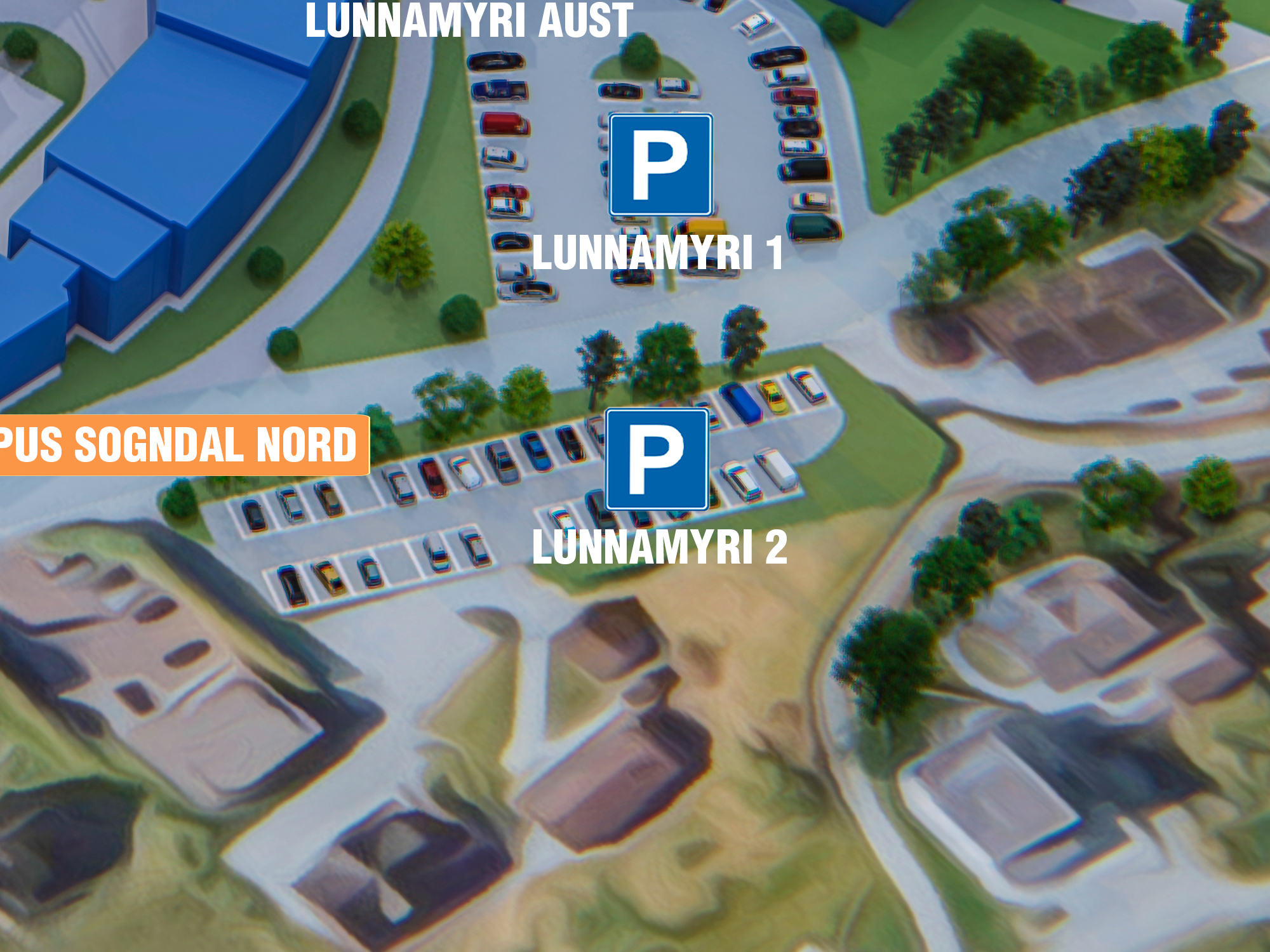 Parkering Lunnamyri 2 - Beste parkering om du skal til: Sogndal vidaregåande skule, Sogndal idrettshall