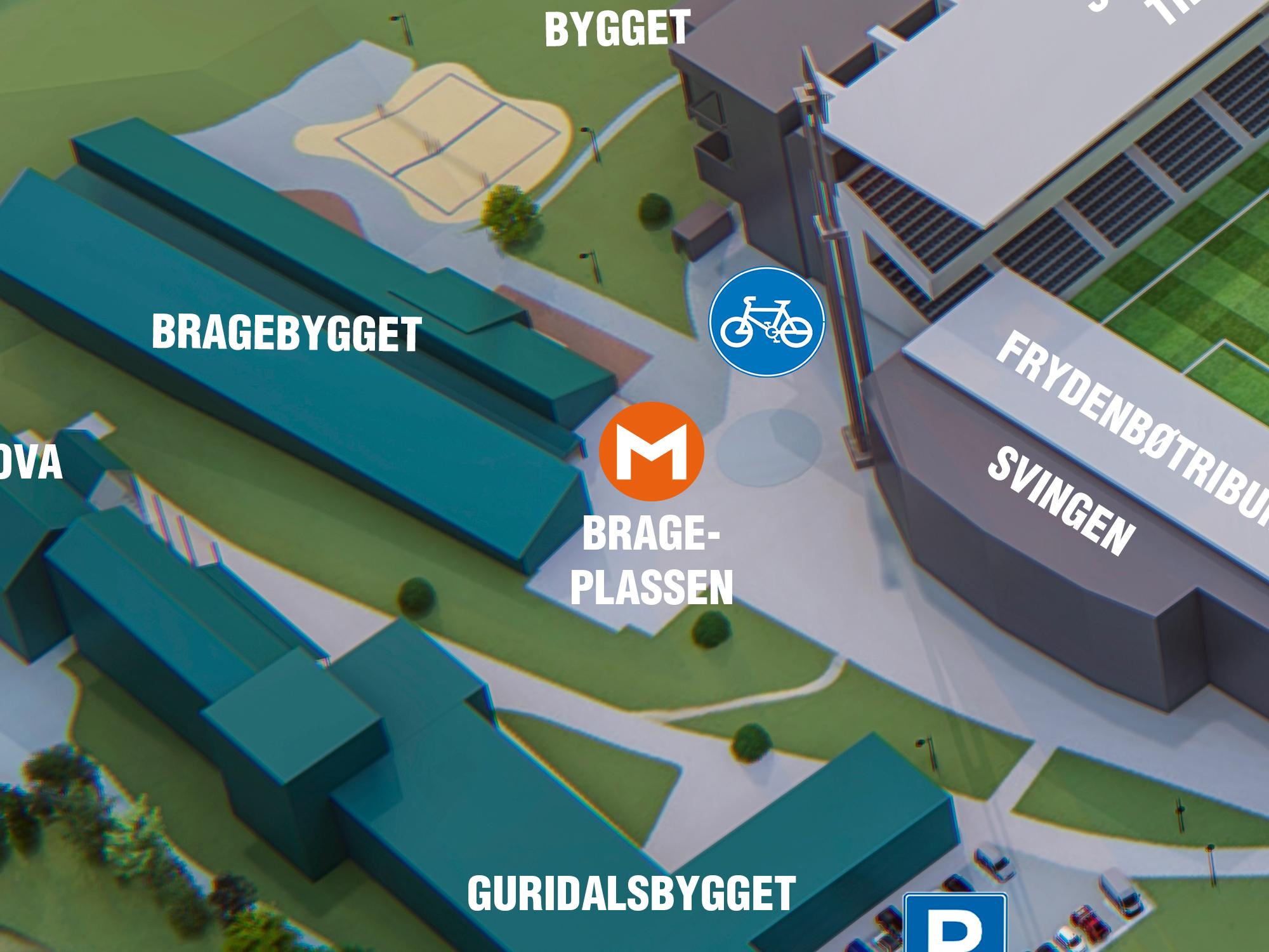 Brage-plassen - Brage er i den norrøne mytologien guden for dikting og skaldekunst. Dette er møteplassen framfor det som tidlegare var Sogndal gymnas/vidaregåande skule, og som i dag er HVL. Sentralt møtepunkt for deg som skal på fotballkamp,til Høgskulen på Vestlandet eller til Innovasjonsbygget.