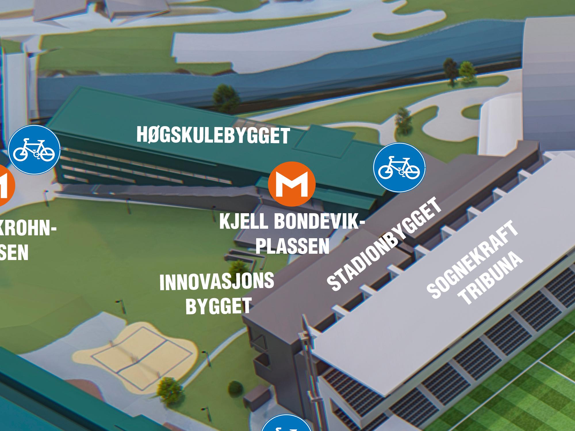 Kjell Bondevik-plassen - Kjell Bondevik var den ansvarlege statsråd i Borten-regjeringa frå 1965 – 1971, og mannen bak distriktshøgskule-reforma som gav Sogndal distriktshøgskule i 1975.Kjell Bondevik var fødd på Leikanger, men hadde sine oppvekstår i Sogndal, i huset som i dag inneheld Kafe Krydder.