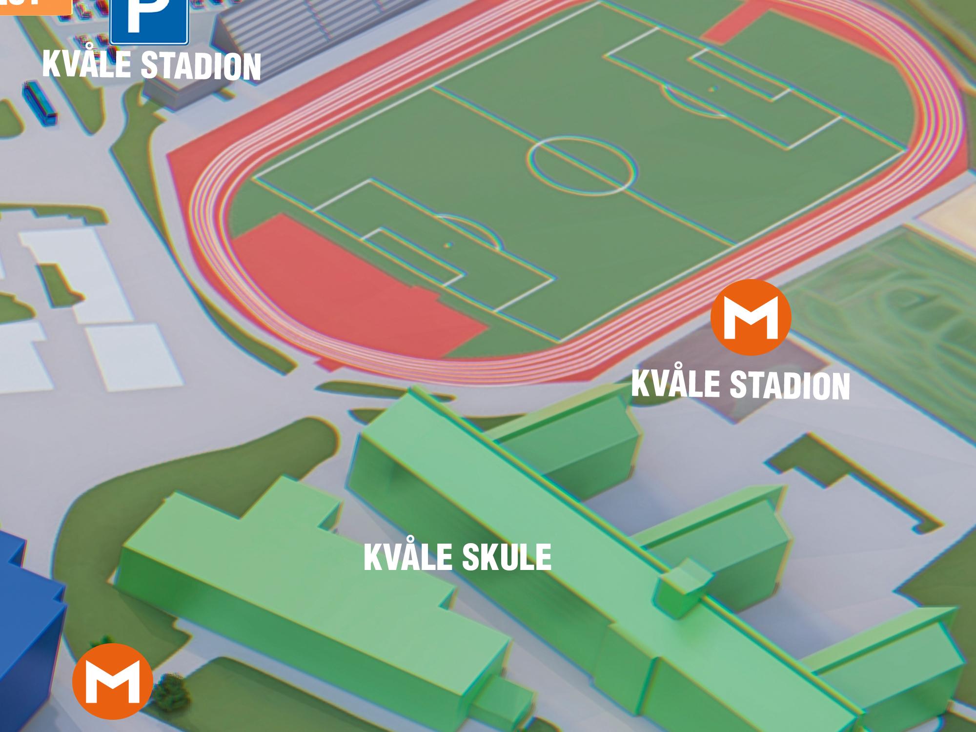 Kvåle Stadion - Møteplass for deg som skal til Kvåle stadion for trening eller aktivitet. Ligg rett bak Kvåle skule og i nærleiken av