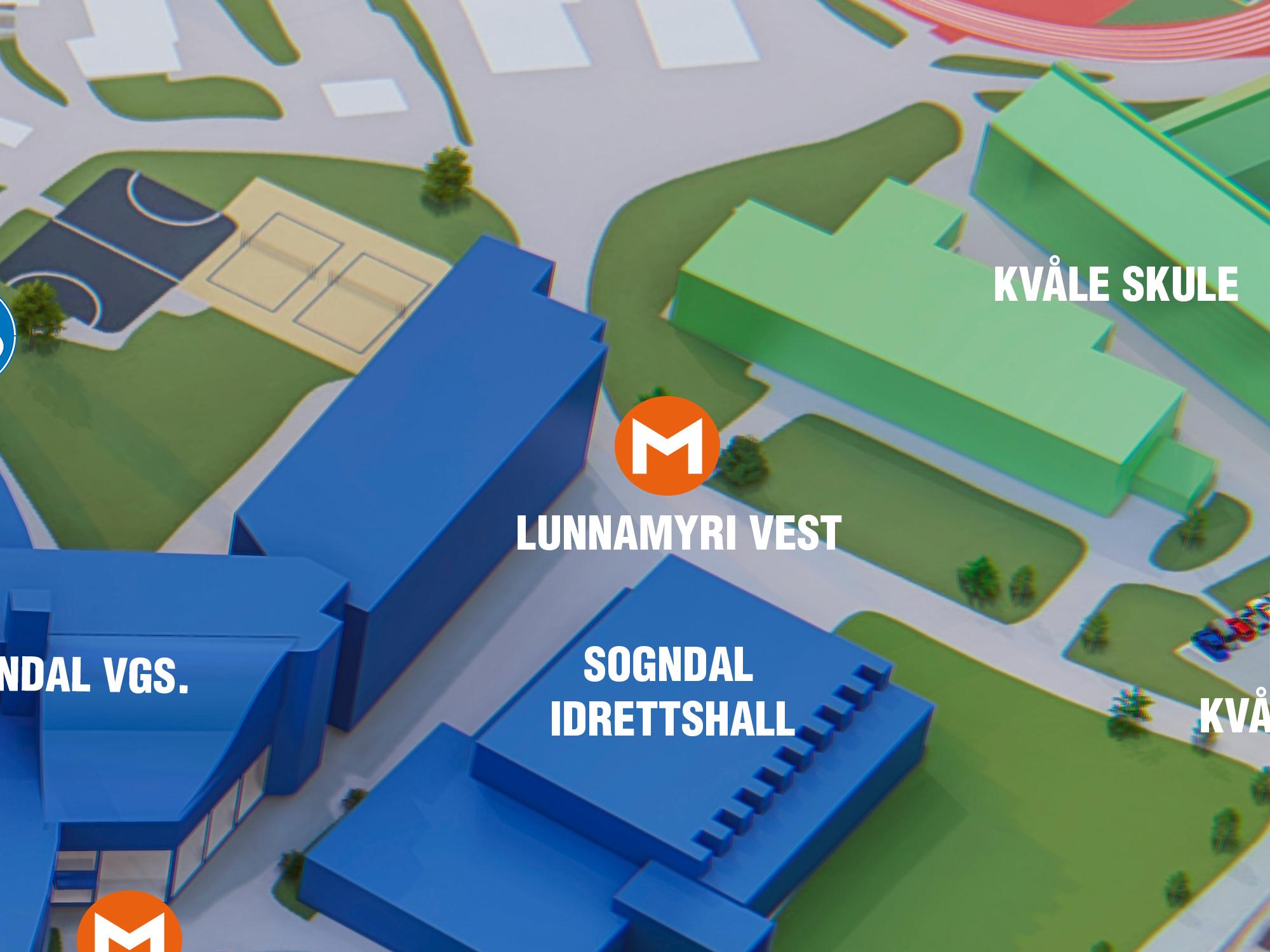 Lunnamyri Vest - Dette er møteplassen mellom Sogndal vidaregåande skule og Kvåle skule. Hugs at det er ikkje gjennomkøyring til Ingafossen, så viss du skal parkere, må det gjerast på Lunnamyri 1, Lunnamyri 2 eller ved Kvåle skule.