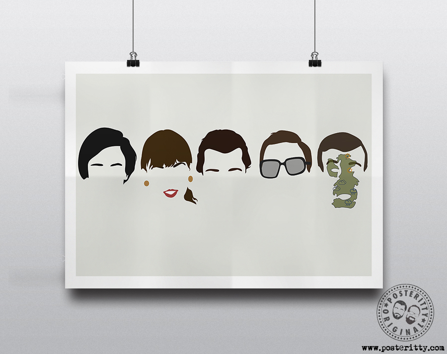 Minimalist Comedy Heads Minimal Movie Poster Posteritty Hair Art FAWLTY TOWERS
