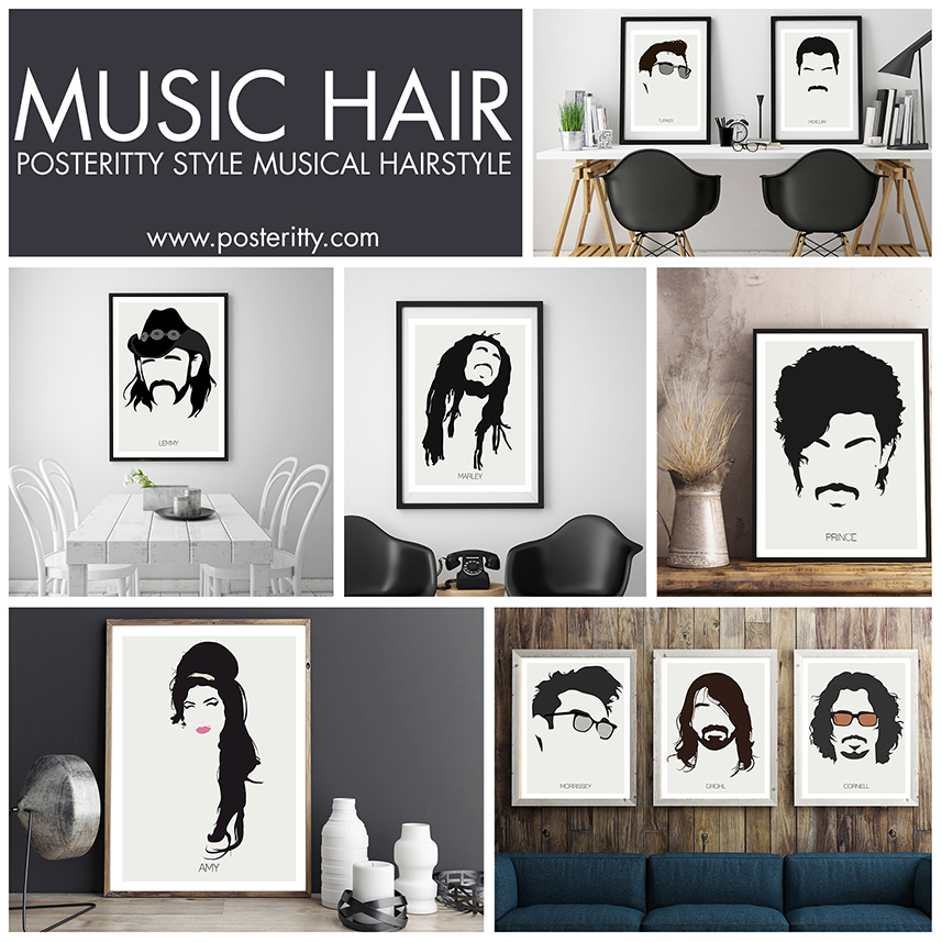MINIMALIST MUSICAL HAIR POSTERS -