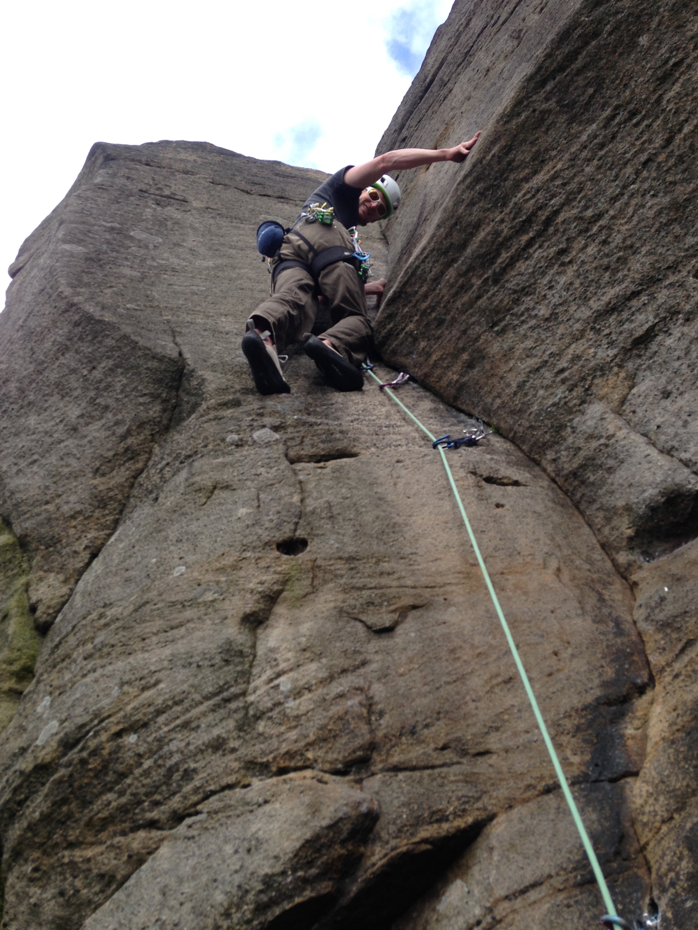 Learn to lead climb and you could experience routes like this, Lachlan loving the moves on Long Tall Sally (E1 5b) Burbage, Peak District