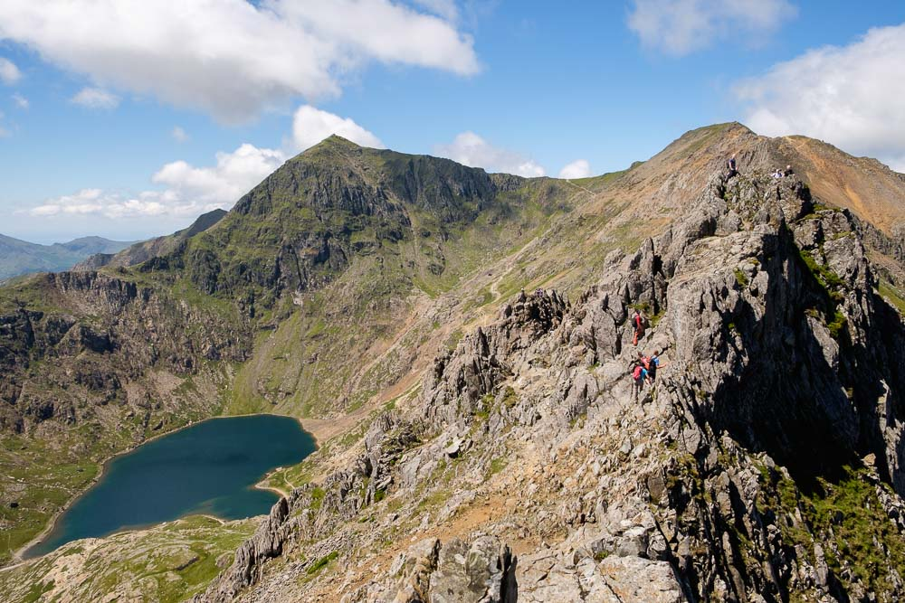 The classic Crib Goch (meaning Jagged Red Ridge) with the Snowdon summit in the background