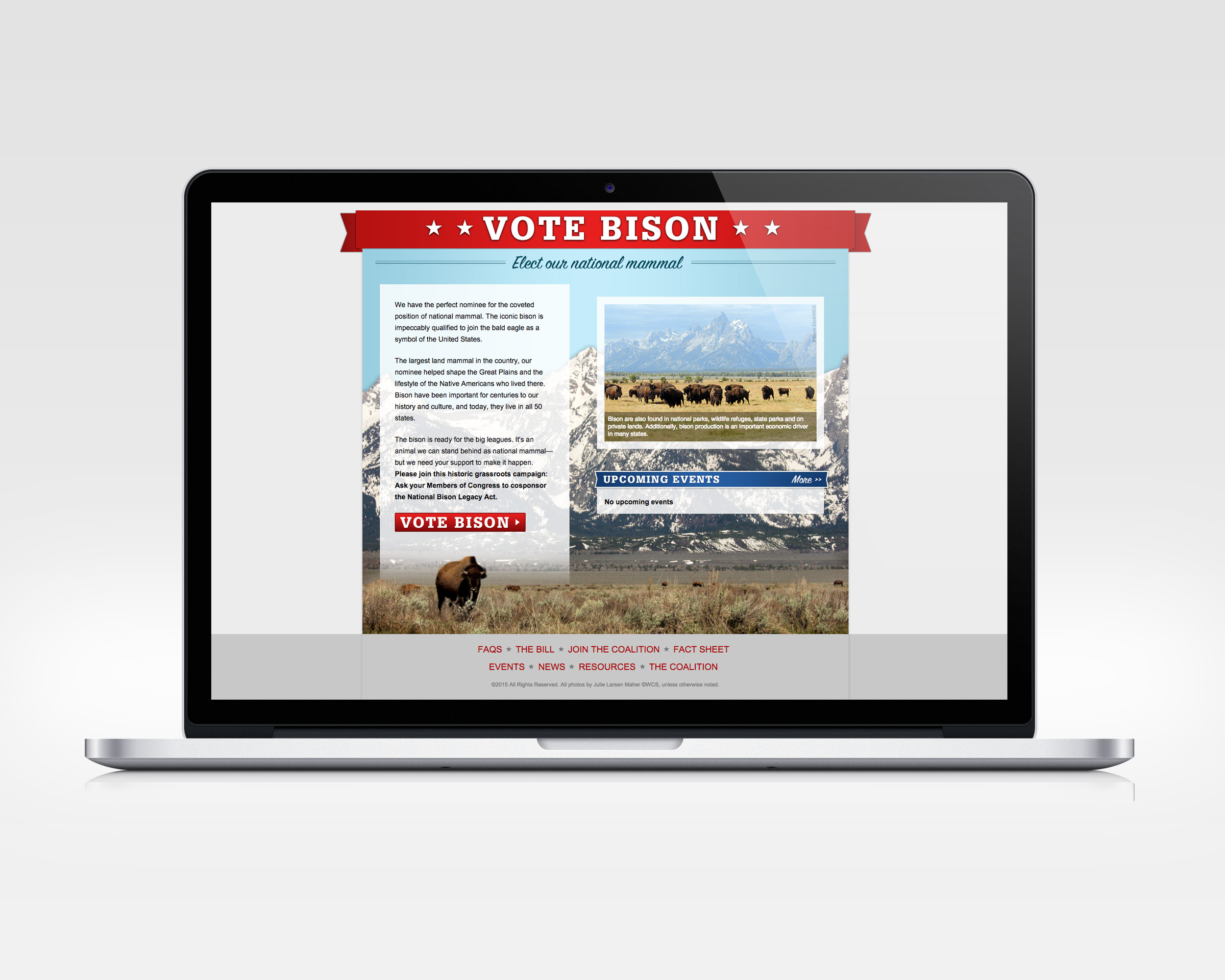 vote bison   design, ux, development   Microsite to support effortto create afederal designation of bison as the national mammal.   View Project