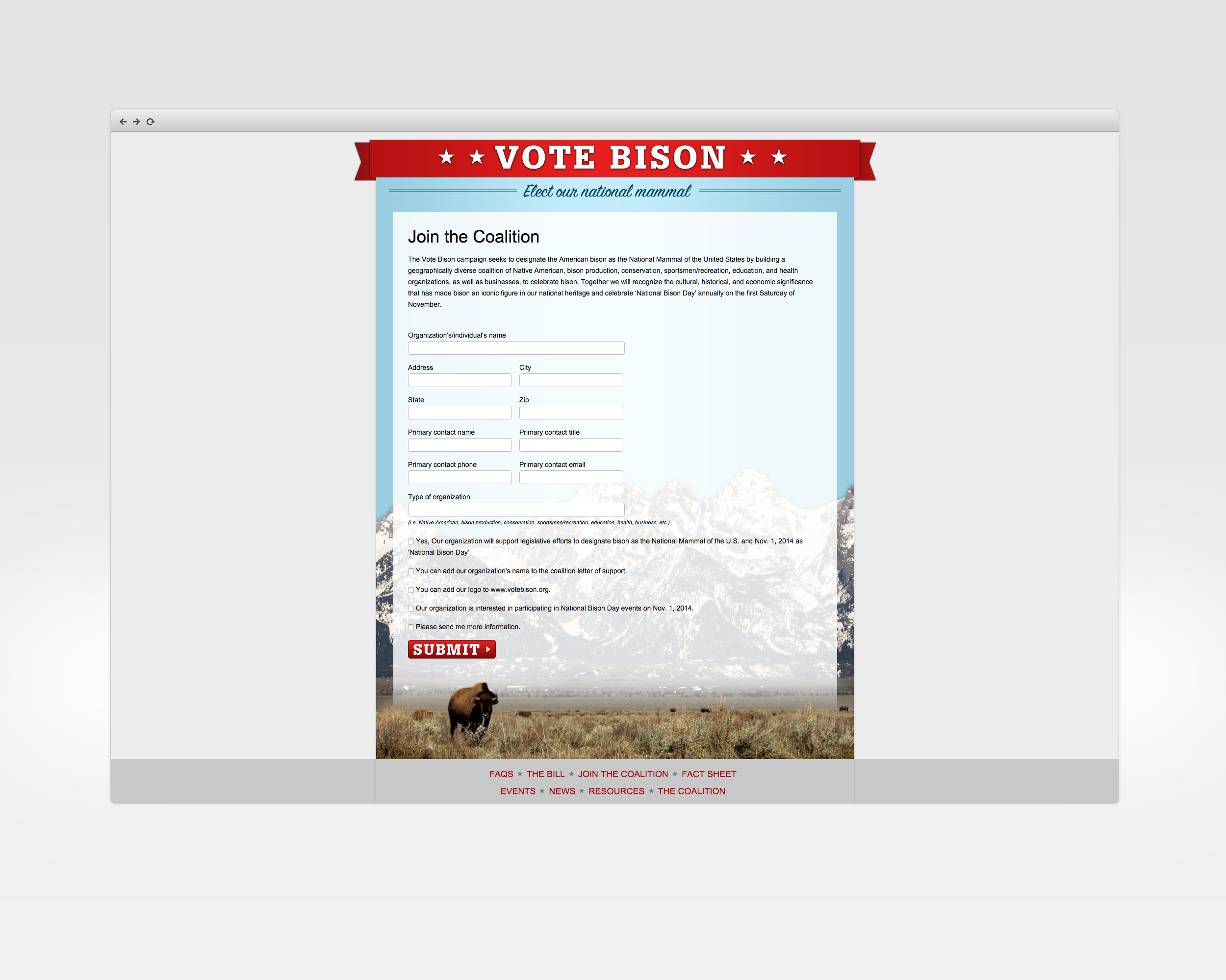 vote bison   design, ux, development   Microsite to support effortto create afederal designation ofbison as the national mammal.   View Project