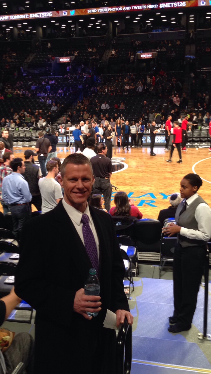 Courtside at the Brooklyn Nets/Miami Heat game.