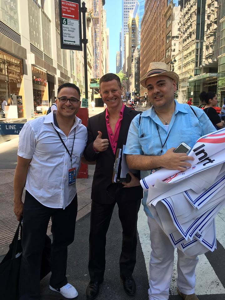 Car Leasing Concierge owner Paul Maloney with Ululy Martinez and Louis Maldonado of the National Puerto Rican Day Parade.