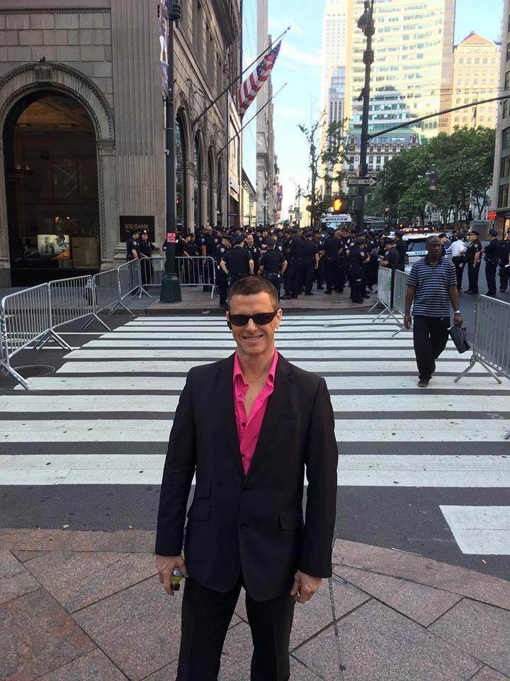 Car Leasing Concierge owner Paul Maloney with an ocean of New York's Finest.
