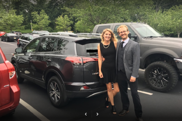 "Michael S and ""Babs"" from NYC NY with their new Rav4. Google verified!"