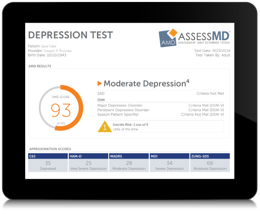 AssessMD tablet with depression results