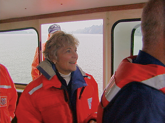 Congresswoman Sue Kelly enjoying a USCG Auxiliary patrol on the Hudson River aboard Launch 5