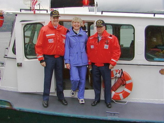 USCG Captain Daniel R. Croce, Congresswoman Sue Kelly & USCG Commander Jim L. Munro on Launch 5 at West Point