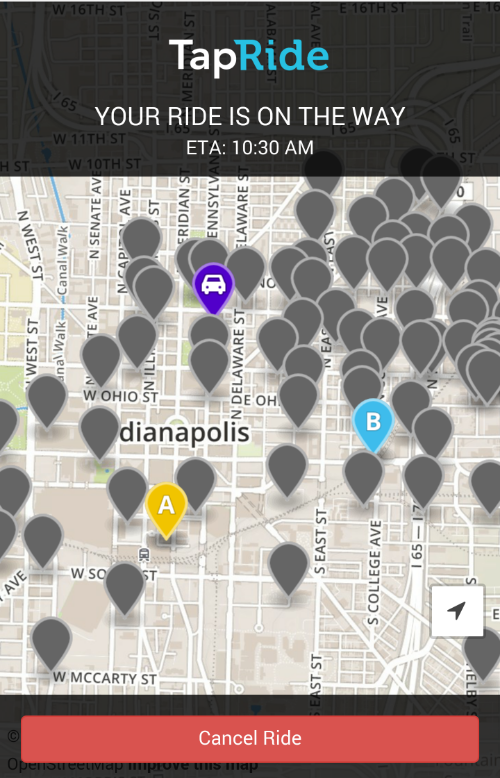 TapRide will notify you when a SafeRide vehicle is en route.