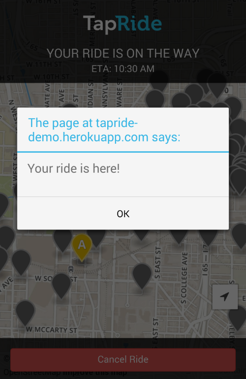 TapRide will send you a push notification when your ride arrives.