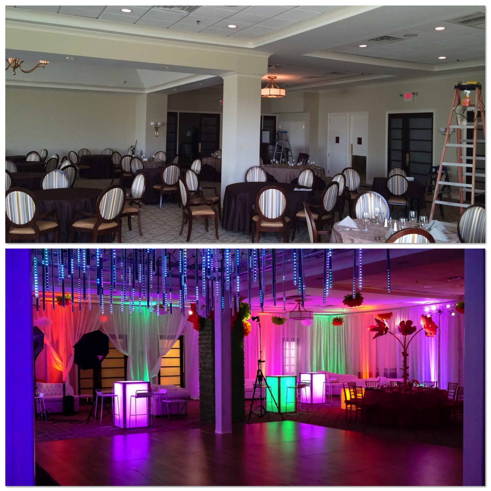 Crestmont Country Club Bat Mitzvah Design Centerpiece Before and After - Eggsotic Events NJ NYC Event Design Lighting Decor Drape Rental NJ NYC .jpg