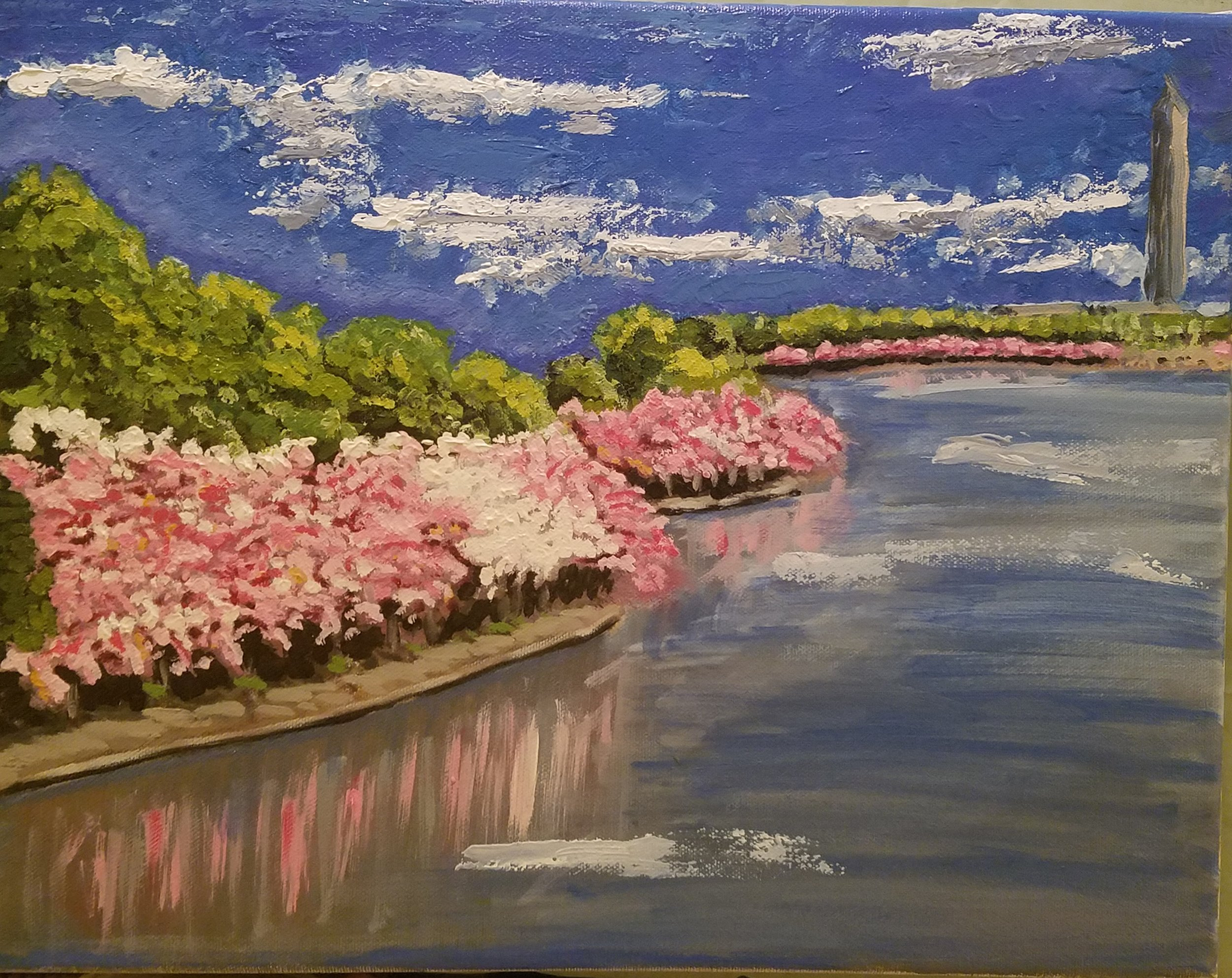 Cherry Blossoms at the Tidal Basin - in progress - 10x14