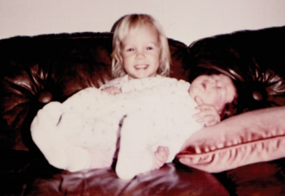 I was an enormous baby. At birth, I weighed 11pounds, 12 ounces! Look at this picture of my older sister holding me. She was 16-months and we are practically the same size. And get this, I wasn't even my mom's largest baby. Good grief! My mother is Wonder Woman as far as I'm concerned!