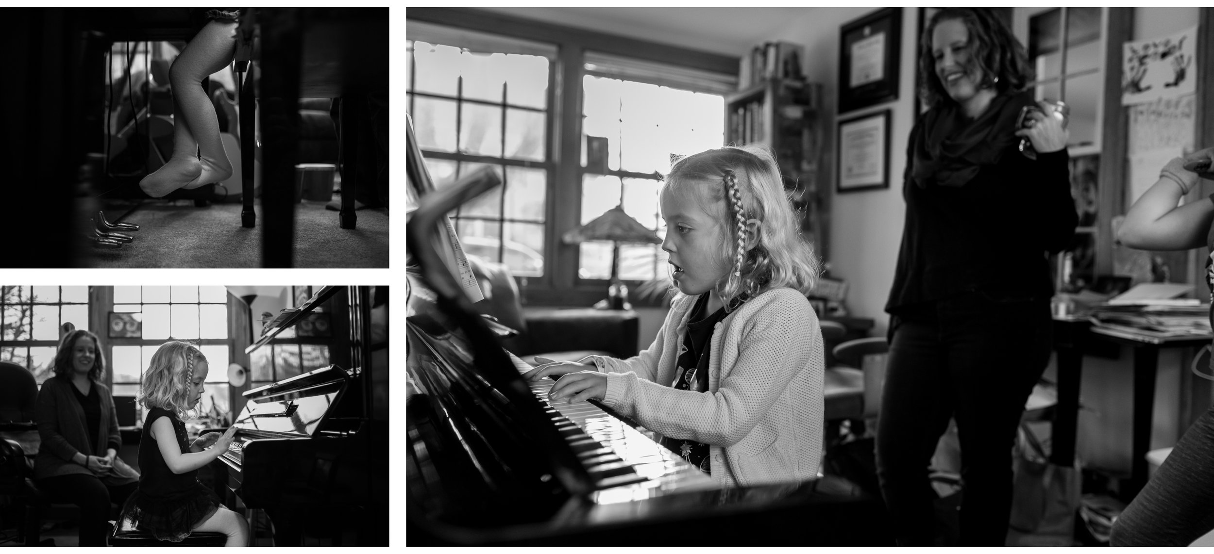 Little Sister is still playing the piano and wearing her hair in a side braid. Her feet still don't reach the pedals, but they are getting much closer. And Mom is able to be more of a passive observer now.