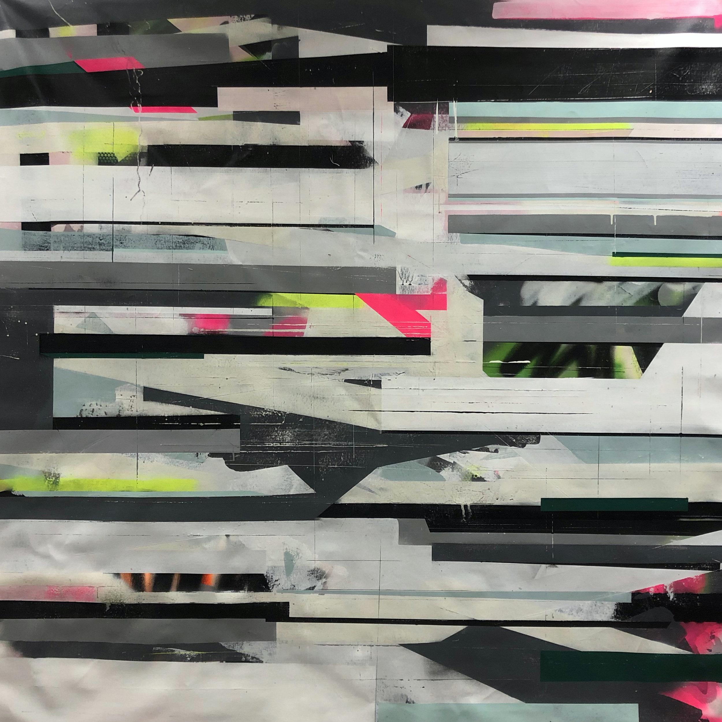 "60"" x 60"" | 2019 Emulsion, spray paint, graphite, wax on canvas"