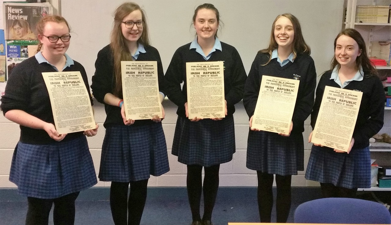 Students at St. Mary's display their proclamations for a new generation