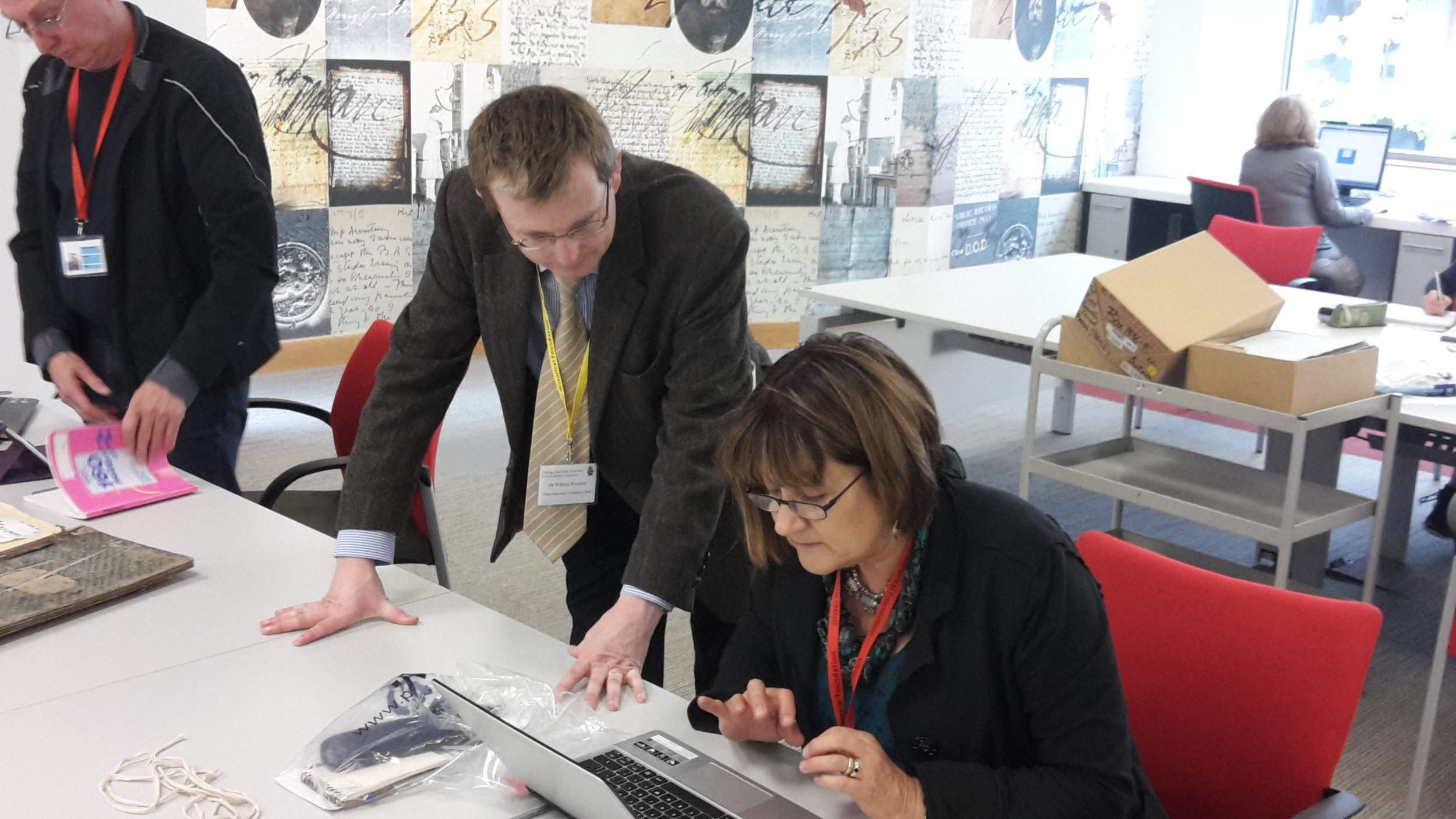 The Foundation's Research Director Dr William Roulston assisting one of the delegates of our family history conference at the Public Record Office of Northern Ireland, September 2015.