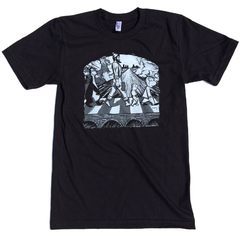 MN Abbey Road - 1 Color   American Apparel 2001 100% Ring Spun Cotton White Ink on Black Only Shipping to the US only
