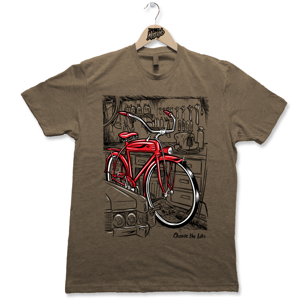 Choose the Bike   Screenprinted Light weight premium tee Available on Heathered Gray, Charcoal Heather, Sage Heather and Indigo Heather