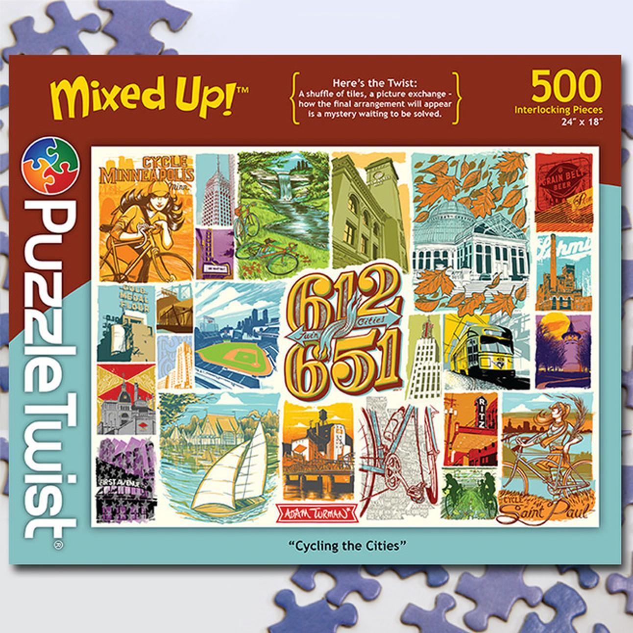 Cycling the cities   500 Piece Jigsaw Puzzle Random Cut Here's the twist: The puzzle ON the box is more than a bit different from the puzzle IN the box!