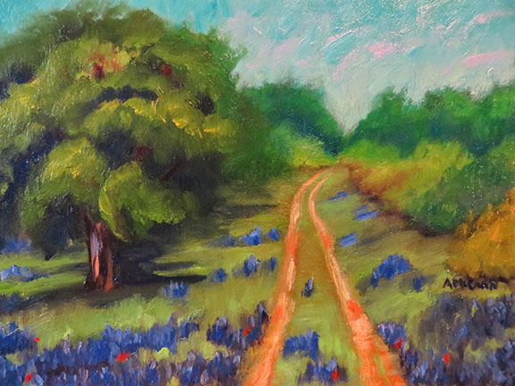 Texas Bluebonnets  9 x 12 Oil on Linen © Ann McCann 2015