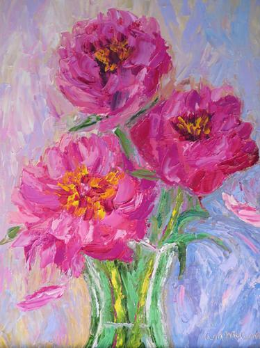 Pink Peonies 9 x12 Oil by Ann McCann ©2015