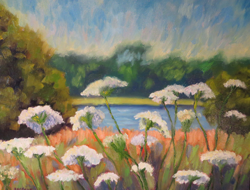 Queen Anne's Lace 12 x 16 Oil by Ann McCann ©2015
