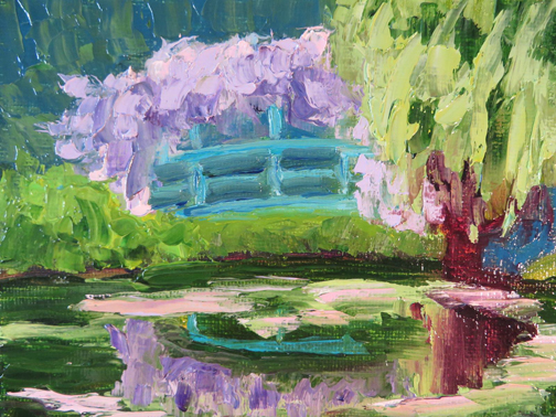 Wisteria Bridge 5 X 7 Oil by Ann McCann (c) 2015