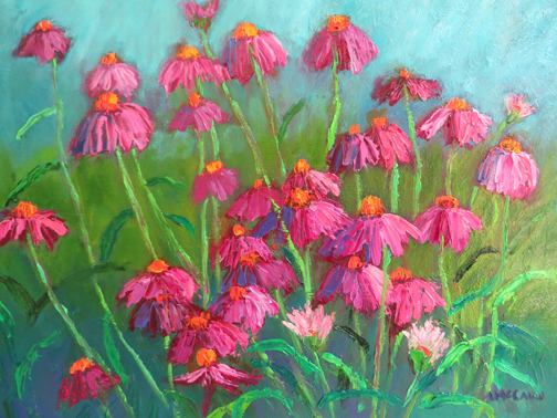 "Coneflower Fantasy 12 X 16"" Oil by Ann McCann (c) 2015"