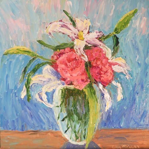 Carnations & Lilies 8x8 Oil by Ann McCann (c) 2015