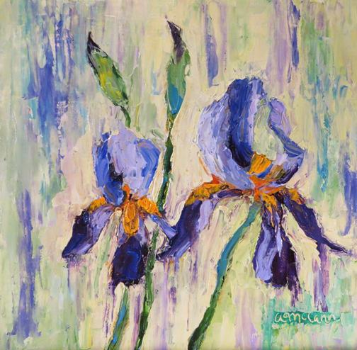 Abstract Irises 8 X 8 Oil by Ann McCann (c) 2015