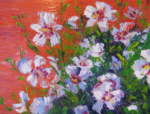 White Rose of Sharon 9 X 12 Oil $175 (c)Ann McCann 2015